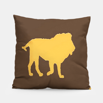 Thumbnail image of Gold lions on brown Pillow, Live Heroes