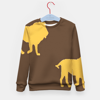 Thumbnail image of Gold lions on brown Kid's sweater, Live Heroes