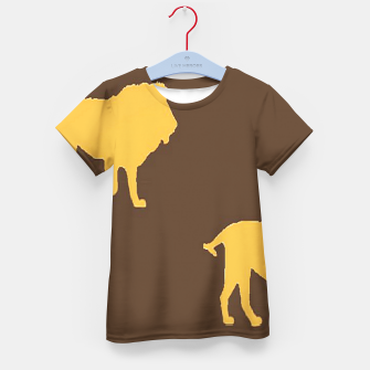 Thumbnail image of Gold lions on brown Kid's t-shirt, Live Heroes