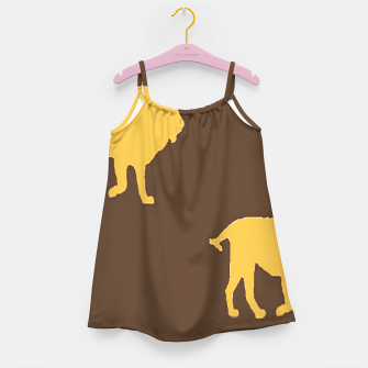 Thumbnail image of Gold lions on brown Girl's dress, Live Heroes