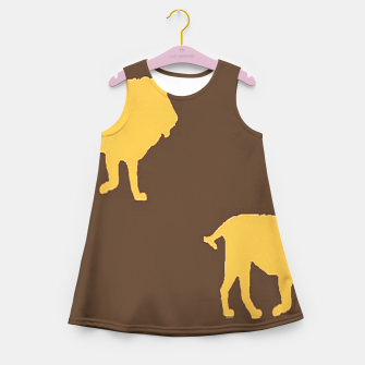 Thumbnail image of Gold lions on brown Girl's summer dress, Live Heroes