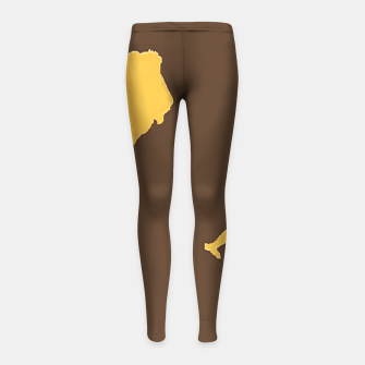 Thumbnail image of Gold lions on brown Girl's leggings, Live Heroes