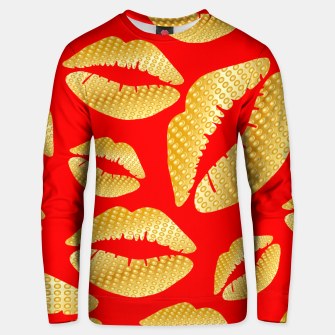 Thumbnail image of Golden lips on red Sudadera unisex, Live Heroes