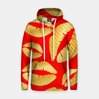 Thumbnail image of Golden lips on red Sudadera con capucha, Live Heroes