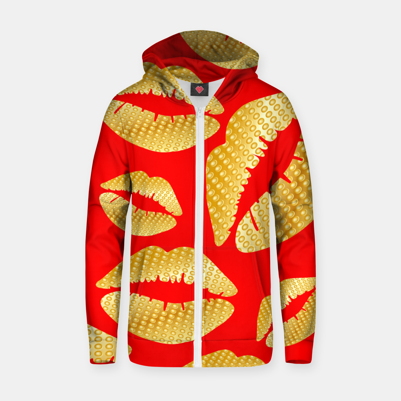 Image of Golden lips on red Sudadera con capucha y cremallera  - Live Heroes