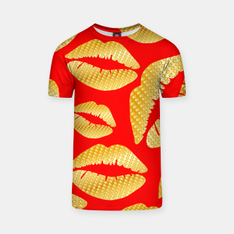 Thumbnail image of Golden lips on red Camiseta, Live Heroes
