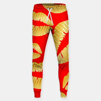 Thumbnail image of Golden lips on red Pantalones de chándal , Live Heroes
