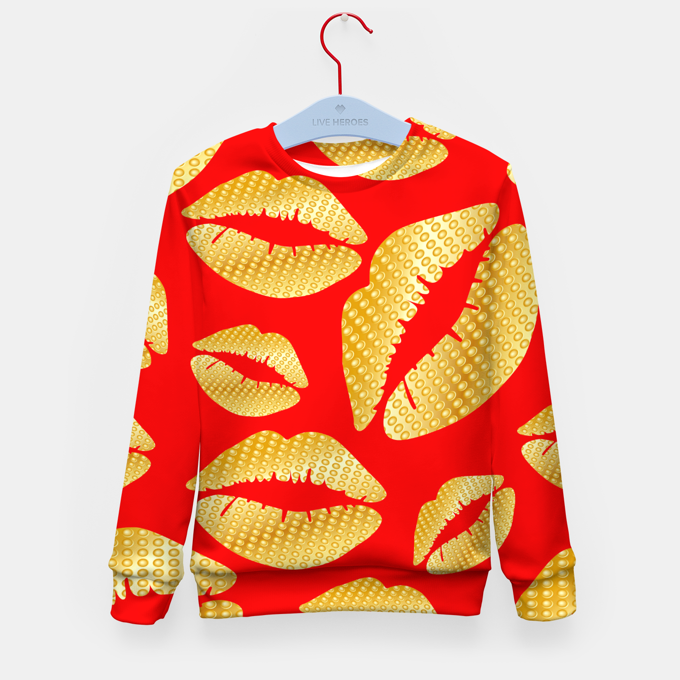 Image of Golden lips on red Sudadera para niños - Live Heroes