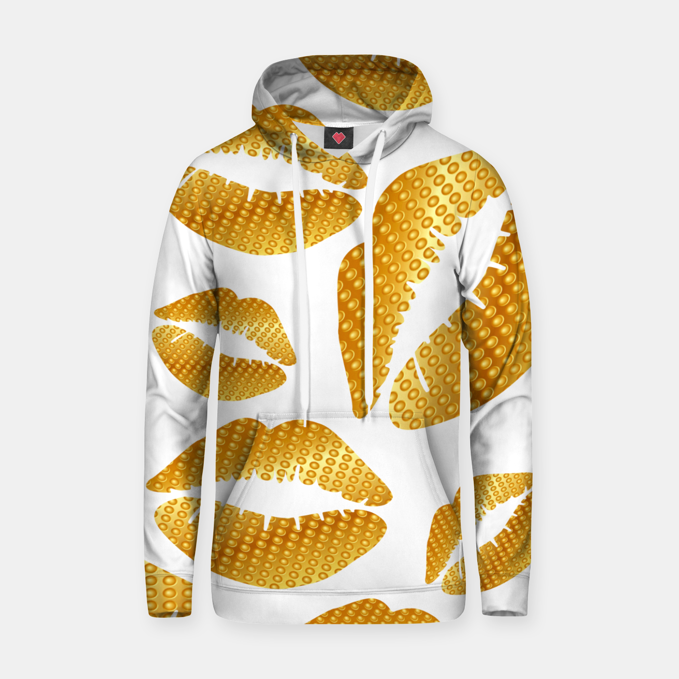 Image of Golden lips on white Sudadera con capucha - Live Heroes