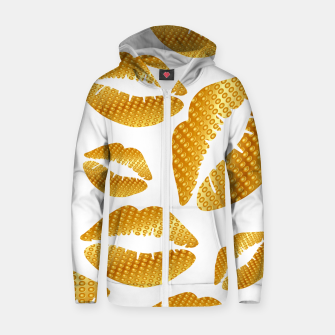 Thumbnail image of Golden lips on white Sudadera con capucha y cremallera , Live Heroes