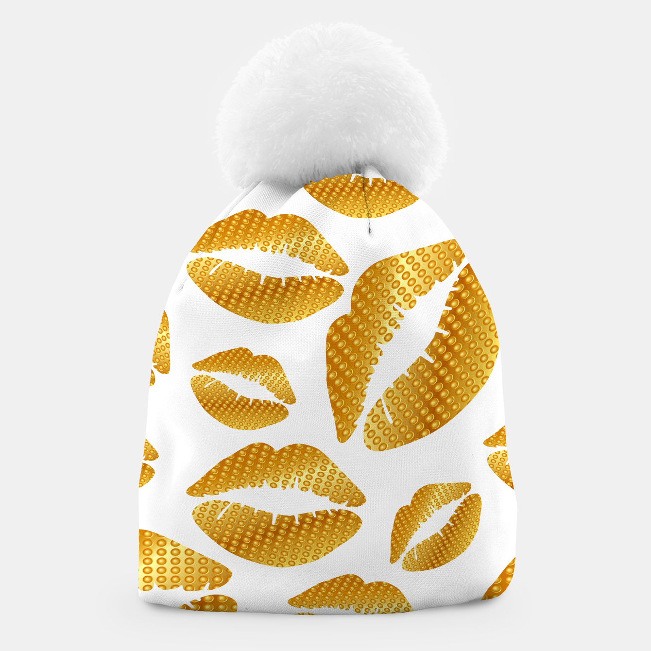 Image of Golden lips on white Gorro - Live Heroes