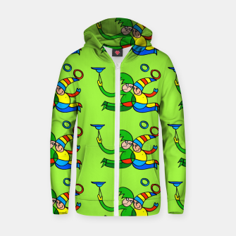 Multiplied Twin Jugglers In Color for Kids on Green Board  Zip up hoodie thumbnail image