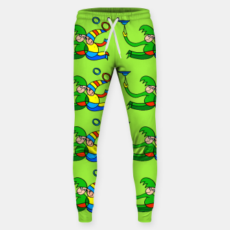 Multiplied Twin Jugglers In Color for Kids on Green Board  Sweatpants thumbnail image