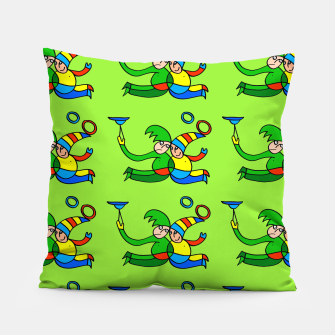 Thumbnail image of Multiplied Twin Jugglers In Color for Kids on Green Board  Pillow, Live Heroes