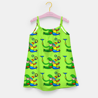 Thumbnail image of Multiplied Twin Jugglers In Color for Kids on Green Board  Girl's dress, Live Heroes