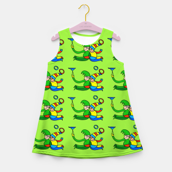 Thumbnail image of Multiplied Twin Jugglers In Color for Kids on Green Board  Girl's summer dress, Live Heroes
