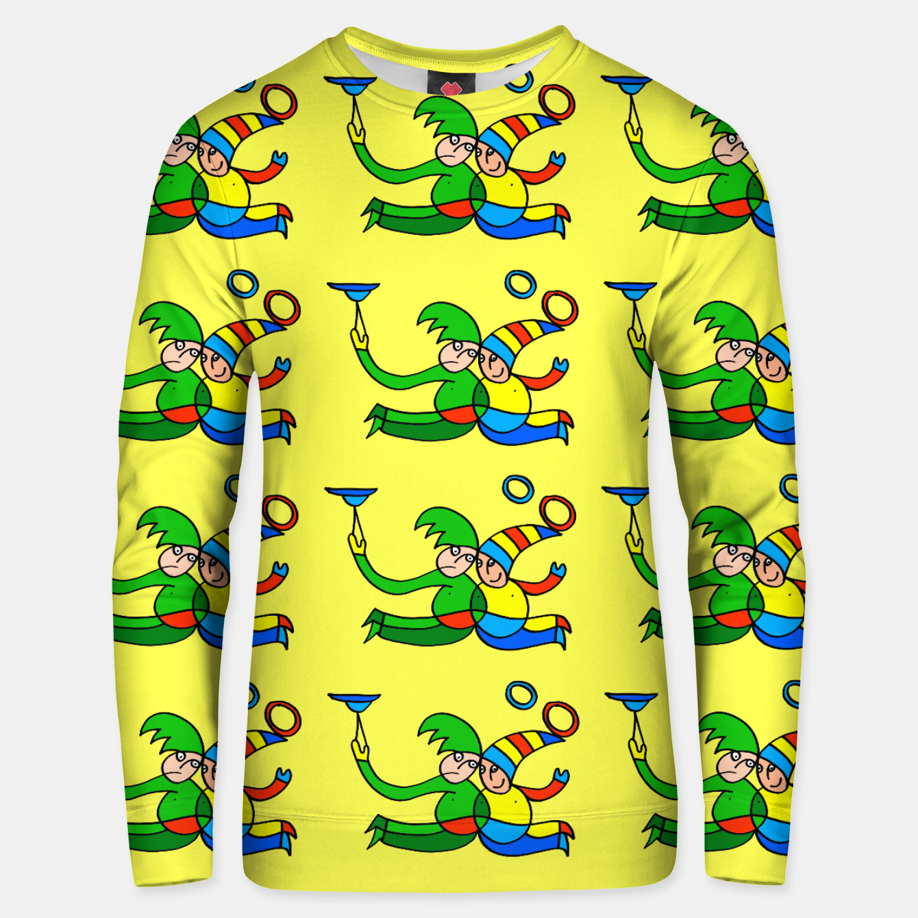 Image of Multiplied Twin Jugglers In Color for Kids on Yellow Board  Unisex sweater - Live Heroes