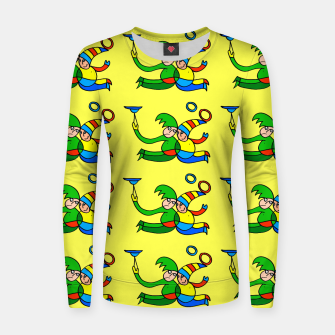 Thumbnail image of Multiplied Twin Jugglers In Color for Kids on Yellow Board  Women sweater, Live Heroes