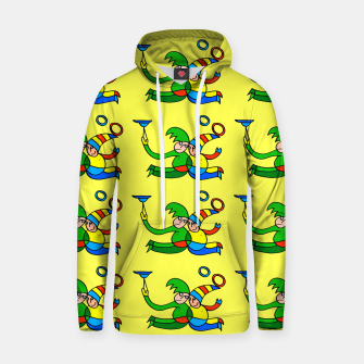 Thumbnail image of Multiplied Twin Jugglers In Color for Kids on Yellow Board  Hoodie, Live Heroes