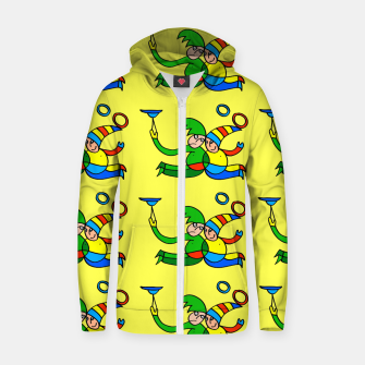 Thumbnail image of Multiplied Twin Jugglers In Color for Kids on Yellow Board  Zip up hoodie, Live Heroes