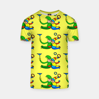 Thumbnail image of Multiplied Twin Jugglers In Color for Kids on Yellow Board  T-shirt, Live Heroes