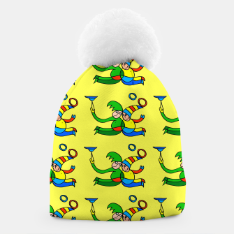 Thumbnail image of Multiplied Twin Jugglers In Color for Kids on Yellow Board  Beanie, Live Heroes