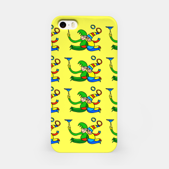 Thumbnail image of Multiplied Twin Jugglers In Color for Kids on Yellow Board  iPhone Case, Live Heroes