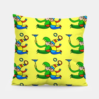 Thumbnail image of Multiplied Twin Jugglers In Color for Kids on Yellow Board  Pillow, Live Heroes