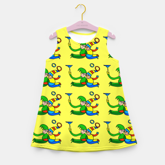 Thumbnail image of Multiplied Twin Jugglers In Color for Kids on Yellow Board  Girl's summer dress, Live Heroes