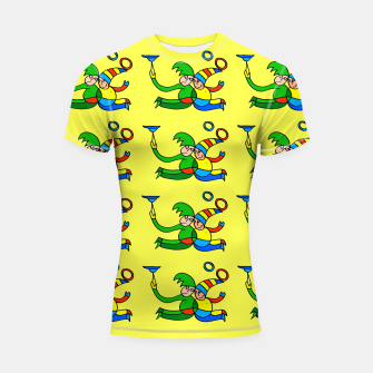 Thumbnail image of Multiplied Twin Jugglers In Color for Kids on Yellow Board  Shortsleeve rashguard, Live Heroes