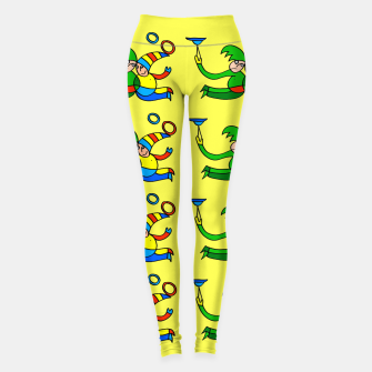 Thumbnail image of Multiplied Twin Jugglers In Color for Kids on Yellow Board  Leggings, Live Heroes