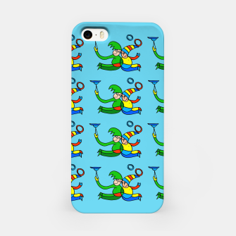 Thumbnail image of Multiplied Twin Jugglers In Color for Kids on Blue Board  iPhone Case, Live Heroes