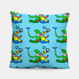 Thumbnail image of Multiplied Twin Jugglers In Color for Kids on Blue Board  Pillow, Live Heroes