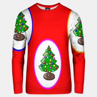 Thumbnail image of Christmas trees on red Unisex sweater, Live Heroes