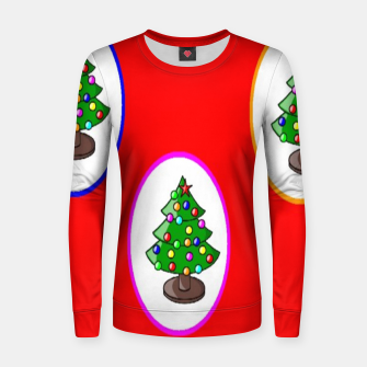 Thumbnail image of Christmas trees on red Women sweater, Live Heroes