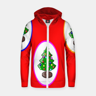Thumbnail image of Christmas trees on red Zip up hoodie, Live Heroes