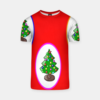 Thumbnail image of Christmas trees on red T-shirt, Live Heroes