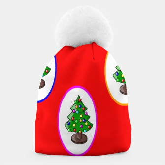 Thumbnail image of Christmas trees on red Beanie, Live Heroes