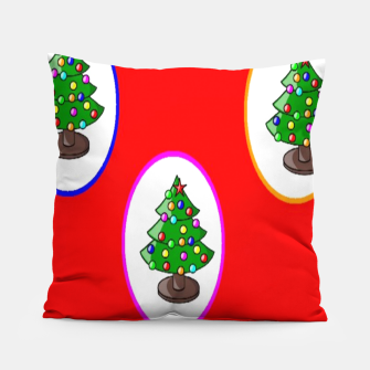 Thumbnail image of Christmas trees on red Pillow, Live Heroes