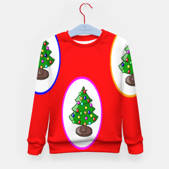 Thumbnail image of Christmas trees on red Kid's sweater, Live Heroes