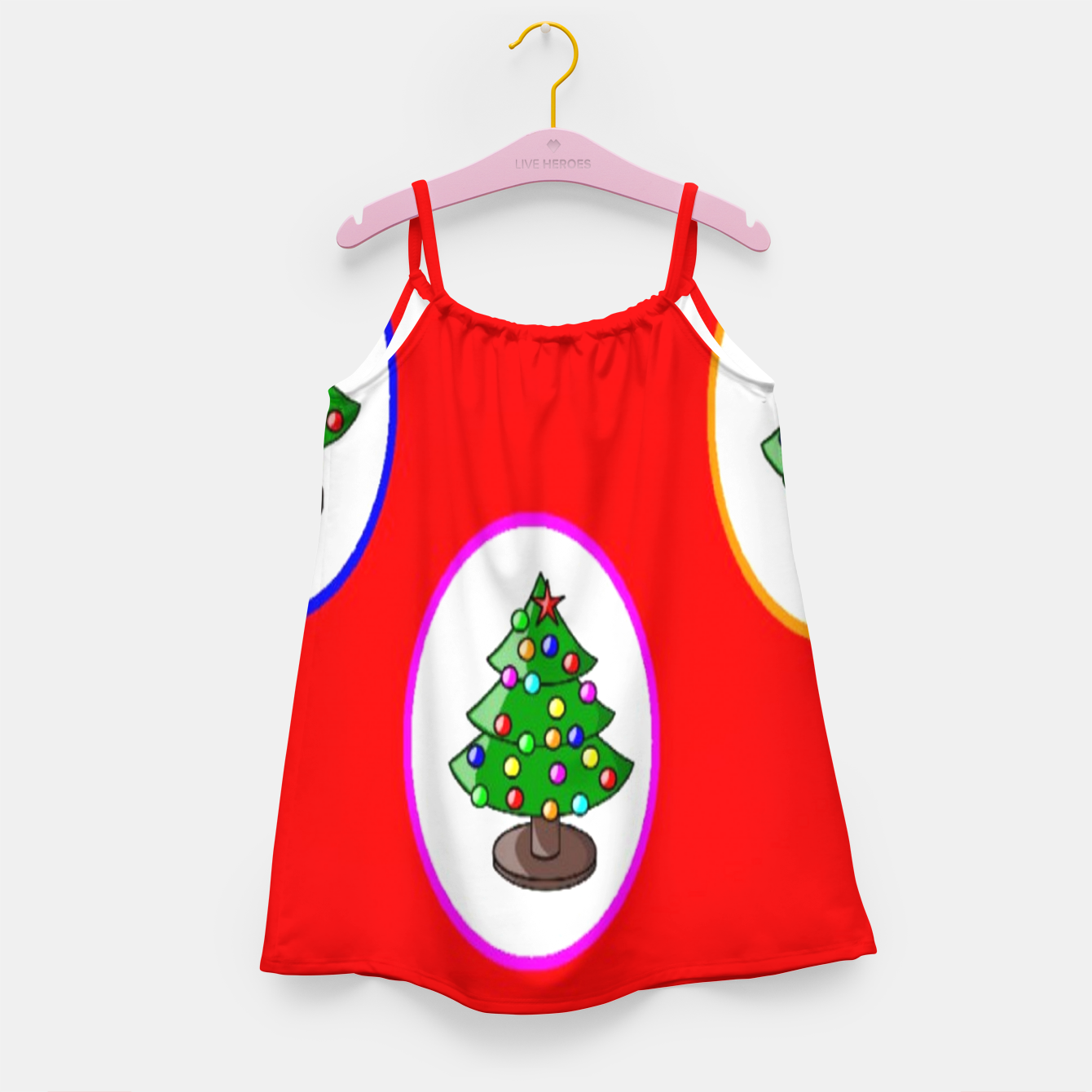 Image of Christmas trees on red Girl's dress - Live Heroes