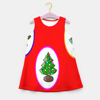 Thumbnail image of Christmas trees on red Girl's summer dress, Live Heroes
