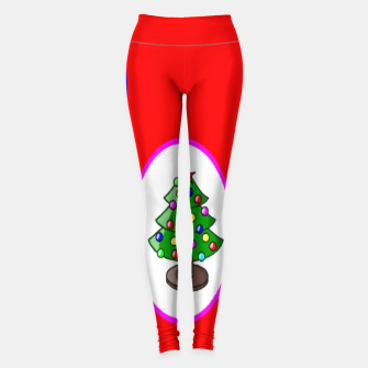 Thumbnail image of Christmas trees on red Leggings, Live Heroes