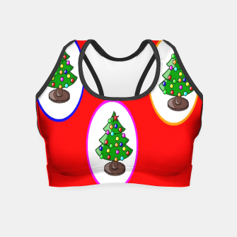 Thumbnail image of Christmas trees on red Crop Top, Live Heroes