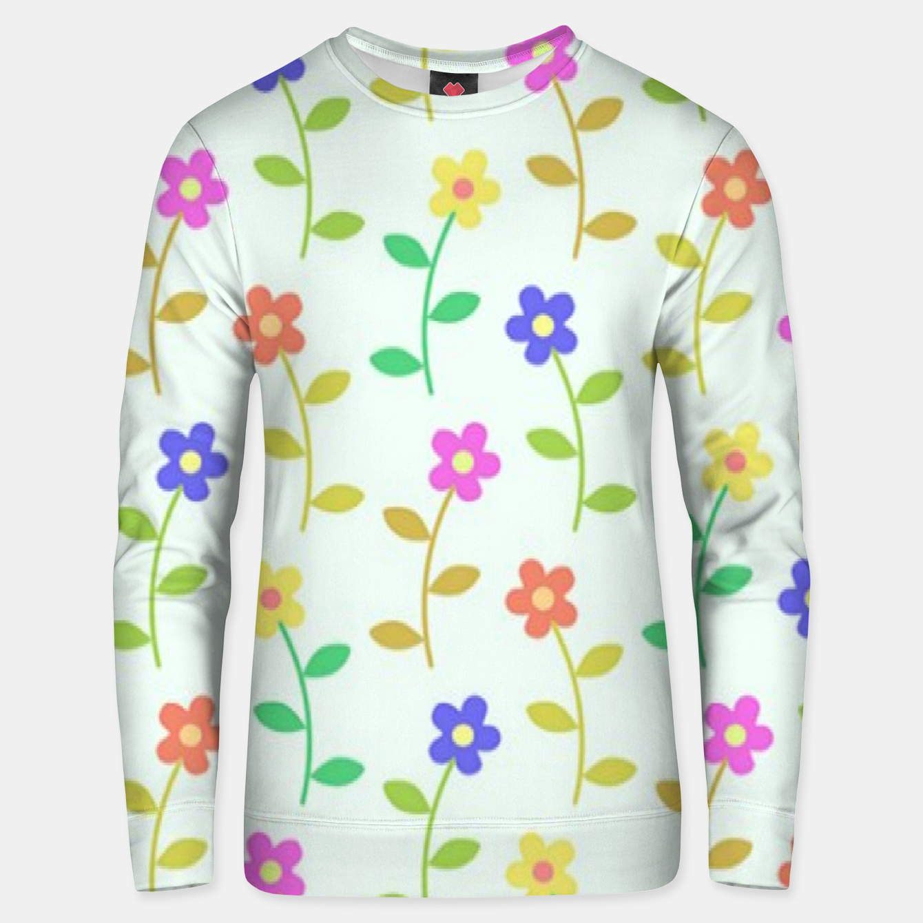 Image of Colorful flowers on green Unisex sweater - Live Heroes