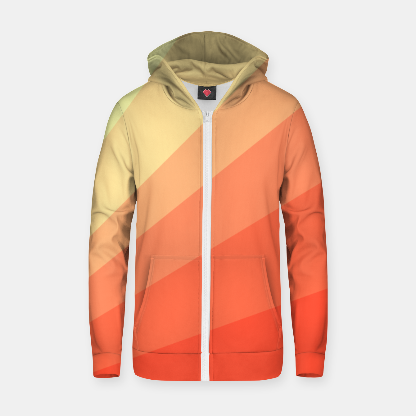 Image of The Sun is rising, abstract sun rays print in soft colors  Zip up hoodie - Live Heroes