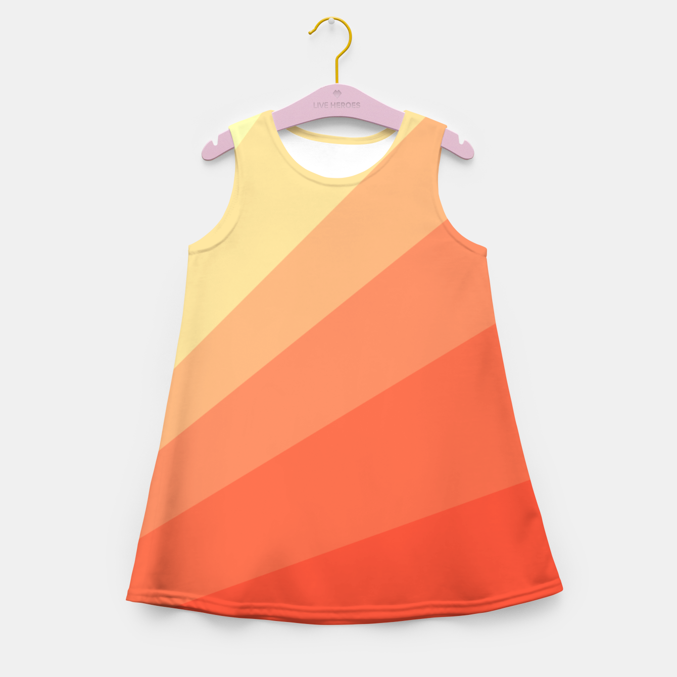Image of The Sun is rising, abstract sun rays print in soft colors  Girl's summer dress - Live Heroes