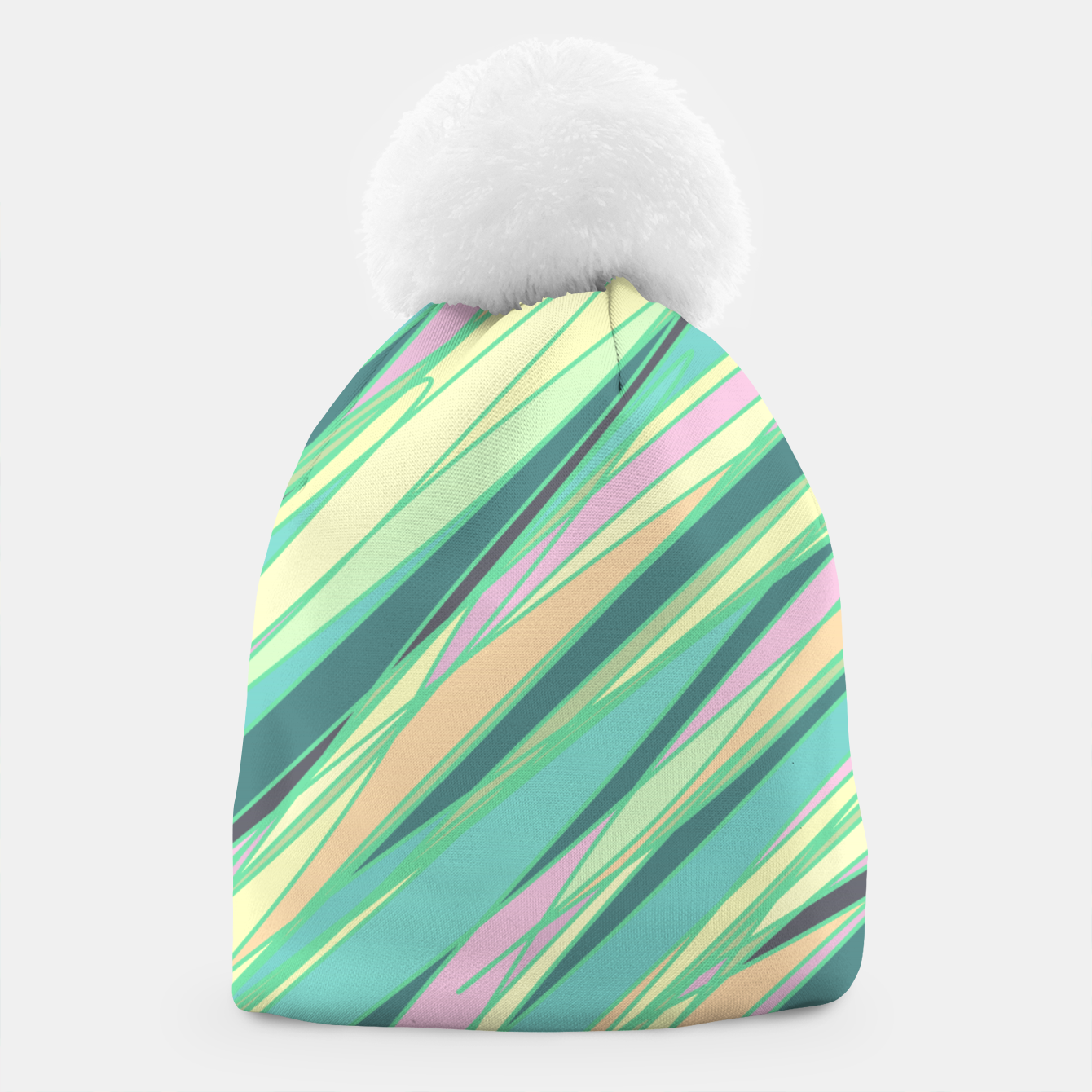 Image of Pencil scratches colorful print, vibrant colors, summer design Beanie - Live Heroes