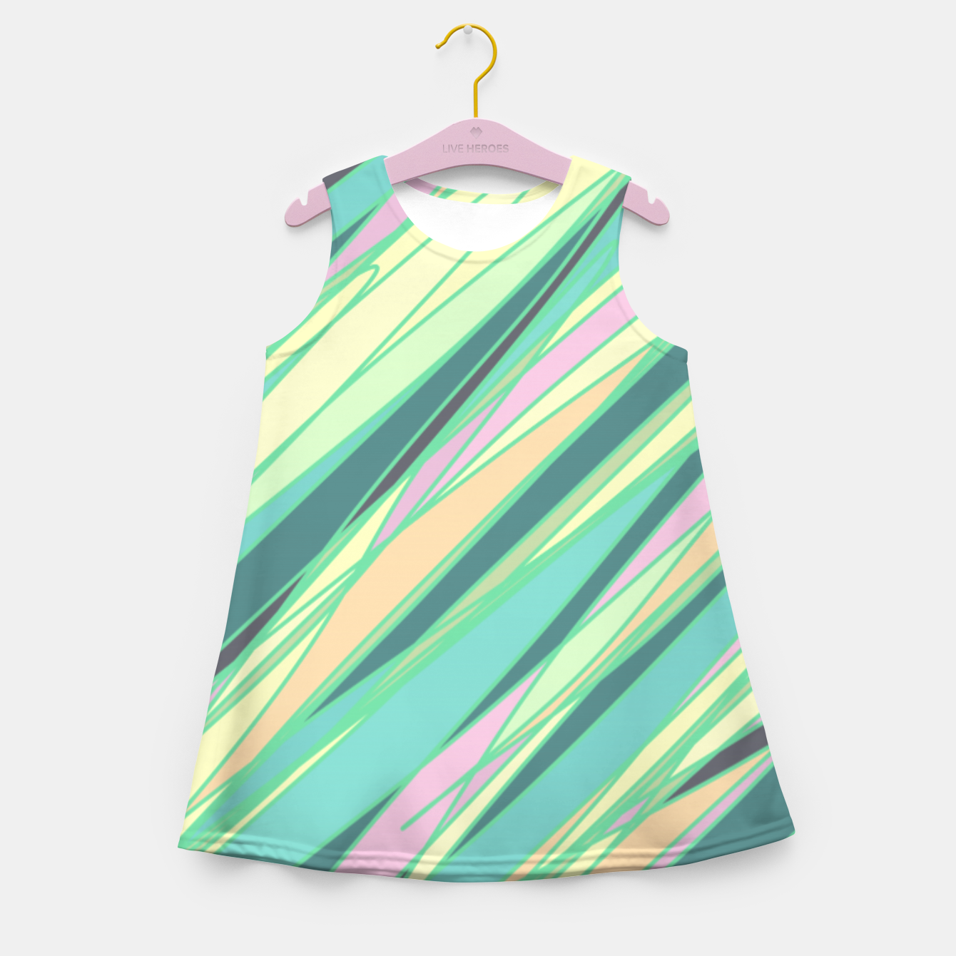 Image of Pencil scratches colorful print, vibrant colors, summer design Girl's summer dress - Live Heroes