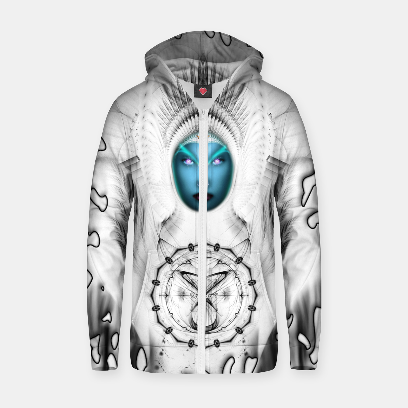 Image of Riddian Queen Angel White SPL On White  Zip up hoodie - Live Heroes
